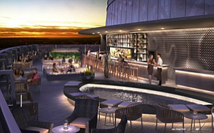 Topped Off: Rendering of rooftop bar at downtown's Wilshire Grand Center hotel.