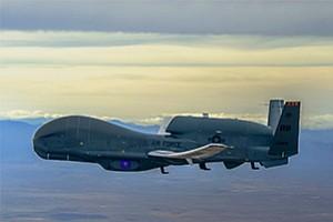 The U.S. Air Force flies the Global Hawk unmanned aircraft. Northrop Grumman runs its Global Hawk program in Rancho Bernardo. Photo courtesy of Northrop Grumman Corp.
