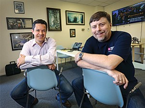 Chris Rowan, CEO of Visionary Realms Inc., and Brad McQuaid, chief creative officer, are developing a fantasy-themed videogame.