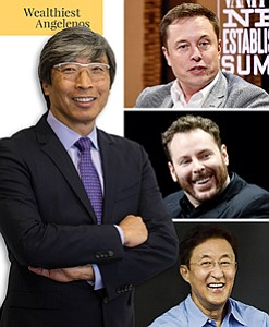 Clockwise from above: Patrick Soon-Shiong, Elon Musk, Sean Parker, and John Tu.