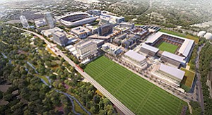 The proposed mixed-use SoccerCity project in Mission Valley now has opposition that includes two prominent San Diego development companies. Rendering courtesy of FS Investors