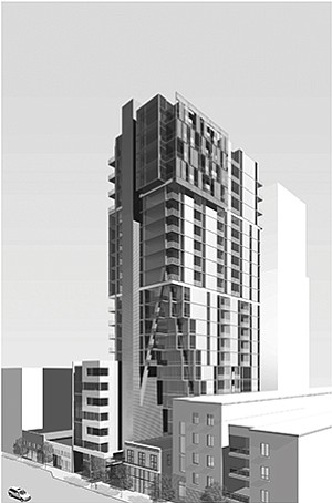 Developers have submitted plans for Bahia View, a 22-story condominium project planned for downtown San Diego's East Village. Rendering courtesy of Civic San Diego