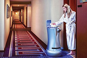 An autonomous service robot named Relay, from technology maker Savioke, delivers food, towels and other items directly to hotel guests in their rooms. A newly opened Fairfield Inn & Suites in San Marcos is the first hotel in the local region to deploy the technology. Photos courtesy of Savioke