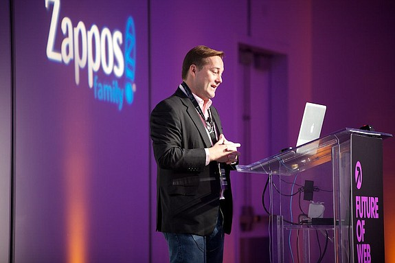 Jason Calacanis is known for keynoting tech industry conferences worldwide. Here, Calacanis speaks at the Future of Web Apps conference in Las Vegas. -- Photo by Jeff Ward.