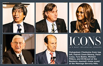 Outspoken: Clockwise from top left, Patrick Soon-Shiong, Peter Lowy, Tyra Banks, Michael Milken, and Eli Broad at the Business Journal's Icons event at the Montage Beverly Hills.