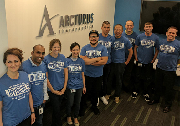 Arcturus Therapeutics employs 50 people in San Diego. Pictured are members of the C-suite, along with researchers working on the cystic fibrosis program. Photo courtesy of Arcturus.