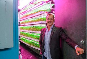 Cropped In: Brandon Martin inside one of Local Roots Farms' shipping containers that has been adapted for growing food.