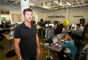 Carriage Issues: Stephen Stokols at FreedomPop's Westwood headquarters in July.