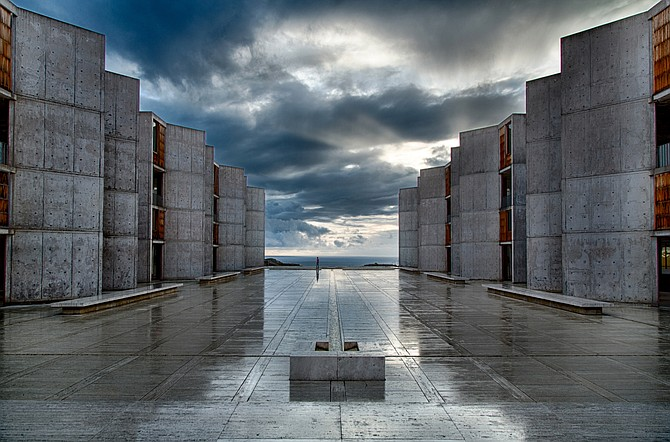 Architect Louis Kahn used wood elements as a counterpoint to his monolithic concrete walls in the institute's original buildings. Even the sturdy concrete walls of the 1960s-era structure have needed some repair. Photos courtesy of Salk Institute