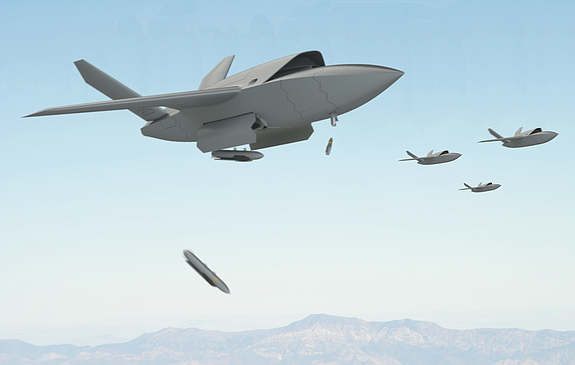 An artist's rendering shows a group of XQ-222 Valkyrie unmanned aircraft in flight. The drone is scheduled to make its first flight in 2018 - Rendering courtesy of Kratos Defense & Security Solutions