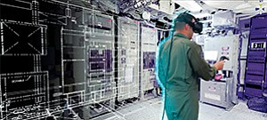 A photo illustration contrasts traditional drawings of the USS Truxtun's interior, at left, with a 3-D virtual reality model built with data from a laser scanner. Lt. Clay Greunke wears virtual reality goggles and handles a tool for moving computer-generated components within the simulated space. Photo illustration courtesy of U.S. Navy