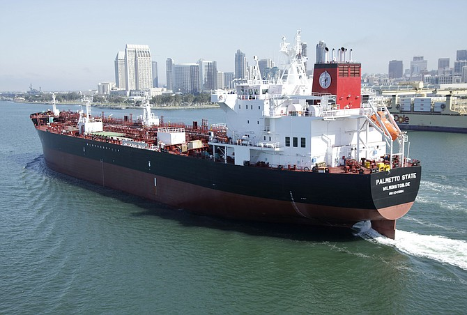 The Palmetto State, the last of eight ECO tankers built by General Dynamics NASSCO, departs for sea trials in May. NASSCO delivered the ship June 7, completing the delivery of 10 ships in 20 months - Photo courtesy of General Dynamics NASSCO