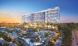 RIDA Development Corp. is in talks with Gaylord Hotels to operate a 1,450-room convention hotel on the Chula Vista waterfront. Rendering courtesy of RIDA Development Corp., HKS