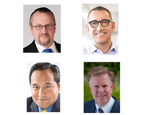 (Clockwise from Top L) Bahnsen Group's David Bahnsen; United Capital's Joe Duran; Eclectic Associates' David Little; Apriem Advisors' Harmon Kong
