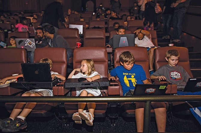 Kids at Super League Gaming event at Cinemark theater in Playa Vista. Photo by Ringo Chiu.