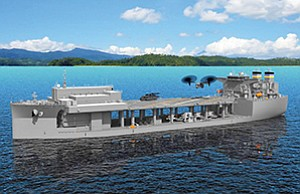 General Dynamics NASSCO. A rendering shows an expeditionary support base ship that is also in the Pentagon's preliminary budget for 2018.