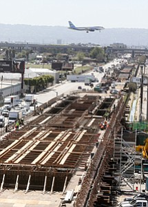 Making Tracks: The Crenshaw-LAX rail line under construction last year.