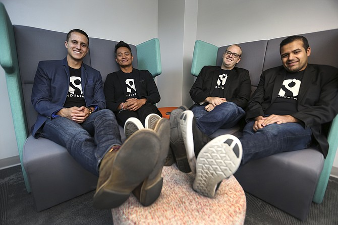 Cody Barbo, left, and co-founders Errol Asuncion, Matthew Cecil Industry, and Chief Technology Officer Varun Villait. Photo by Jamie Scott Lytle.