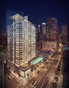 Mixed Use: Rendering of planned condo tower in downtown's Financial District.