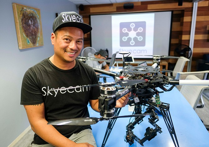 Ambitions: Skyecam Chief Executive JJ Trinidad at his company's Mid-Wilshire HQ.
