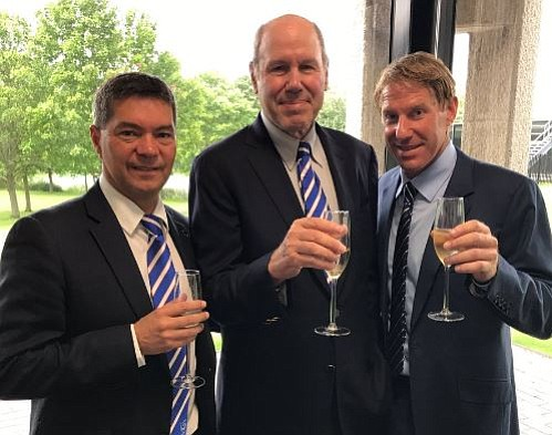 Mark Catlin, chief executive of Portsmouth FC, Michael Eisner and his son Eric, celebrating the announcement of the sale. Photo Courtesy of Michael Eisner's Twitter account @Michael_Eisner.