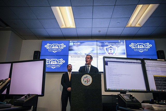Mayor Eric Garcetti launches the first city-based Cyber Lab.