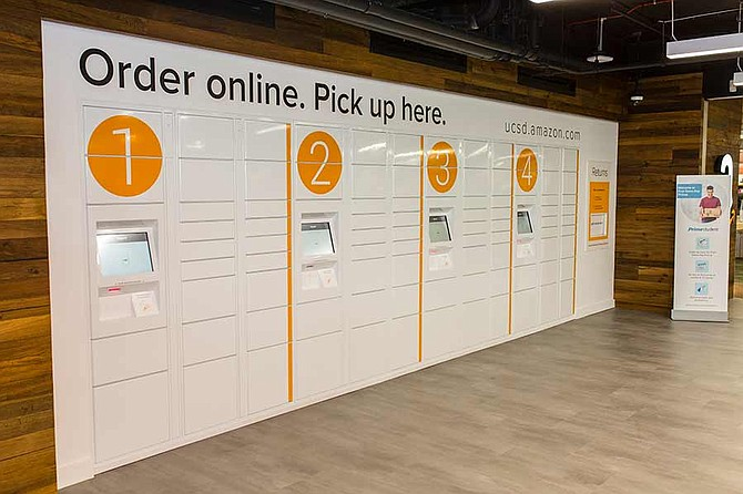 Amazon@UCSanDiego opened in November 2016 at the main campus bookstore of UC San Diego. It features ATM-like screens that customers use to access lockers where Amazon delivers items that have been pre-ordered - Photo courtesy of UC San Diego