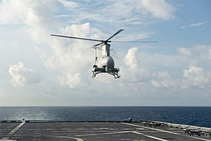 Northrop Grumman Corporation's (NYSE: NOC) autonomous helicopter, MQ-8B Fire Scout, prepares to land on the flight deck of littoral combat ship, USS Coronado (LCS 4). (U.S. Navy photo by Mass Communication Specialist 3rd Class Deven Leigh Ellis/Released)