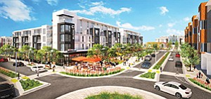 Upcoming elements at North City include more housing, offices and retail elements. The apartment building anchoring Block C, shown here, opened earlier this year. Rendering courtesy of Urban Villages San Marcos