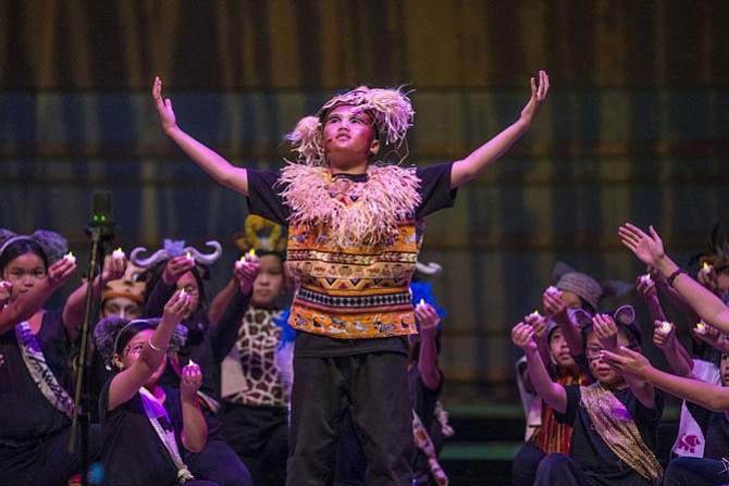 "Students from Ethan B. Allen Elementary prepare to perform ""He Lives in You"" from ""The Lion King"" during Disney Musicals in Schools Student Share Celebration at Renee and Henry Segerstrom Concert Hall. Photo by Matt Masin"