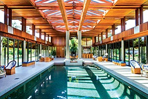 The 3,936-square-foot pool pavilion in a home at 7010 El Camino Del Norte in Rancho Santa Fe. Photo courtesy of Willis Allen Real Estate