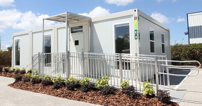 Temporary Spaces: Williams Scotsman International rents modular units, such as the one above, that can be used as mobile office trailers or storage units.