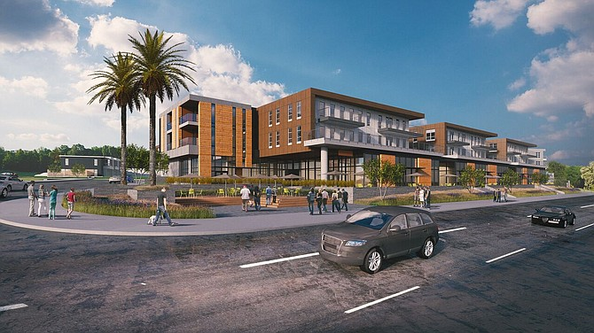 The planned Jefferson Pacific Beach at 4275 Mission Bay Drive -- Rendering courtesy of JPI, Carrier Johnson + Culture