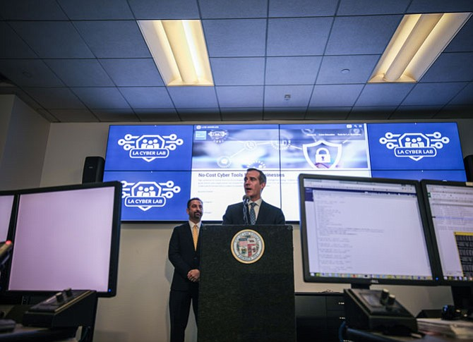 On Guard: Mayor Eric Garcetti unveils L.A.'s Cyber Lab initiative on Aug. 14.