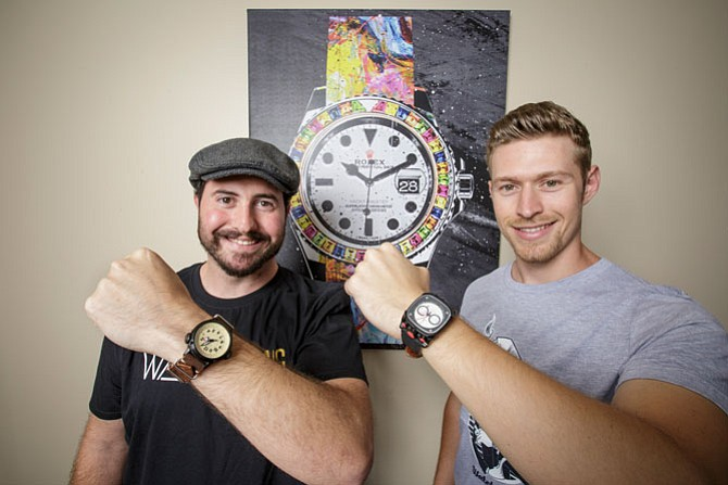 Tick-Tock: Chief Executive Matt Gallagher, left, and Chief Operating Officer Hunter Morris at Watch Gang offices in Studio City.