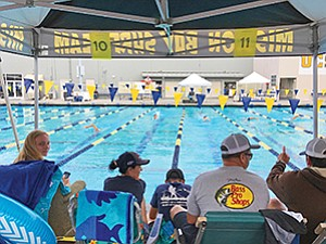 Supporters cheer on swimmers who competed in the fourth annual Swim 24Challenge held at the UCSD Canyonview Aquatic Complex to support the Drowning Prevention Foundation. Photo courtesy of Kathy Miller
