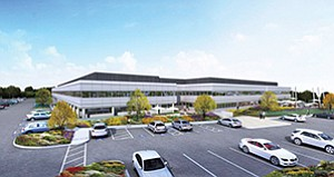 Work is underway on a redevelopment of the Kearny Mesa property that formerly housed aerospace firm Pratt & Whitney. The 230,000-square-foot spec project will include a renovated office building and a new industrial structure. Rendering courtesy CBRE Group Inc.