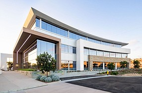 Tsunami ARVR Inc. will occupy space in this building at the newly built Torrey Point office campus in San Diego. -- Photo courtesy of CBRE Group Inc.