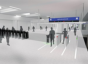 "Cubic Corp. is working on ""gateless"" technology for mass transit agencies, which would identify a paying passenger with a biometric scan. Rendering courtesy of Cubic Corp."