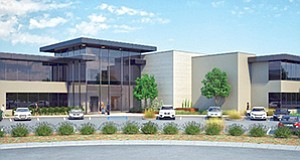 The Aston Point office project, currently under construction in Carlsbad, is among several speculative commercial developments underway or in planning in North County. Rendering courtesy of Burke Development