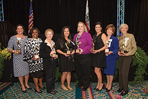 Marla Black, left, Wendy McKinney, Martha King, Van Tran, Michelle Bergquist, Kristine Costa, Barbara Ryan and Bonnie Rush were honored at the San Diego East County Chamber of Commerce 2017 Women in Leadership Luncheon. Photo courtesy of San Diego East County Chamber of Commerce