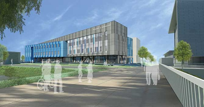 Campus Innovation: Renderin of the $82 million science center under construction at Cal State Dominguez Hills.