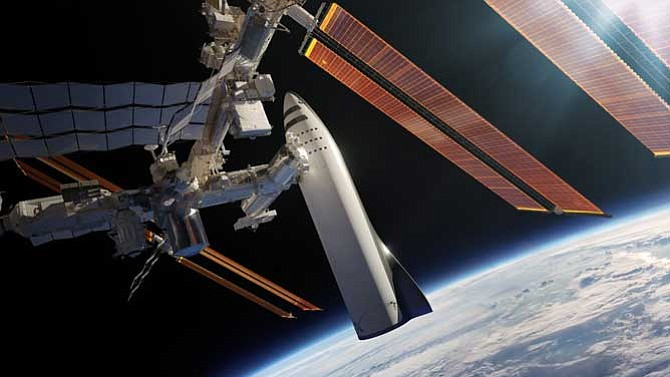 Rendering: SpaceX's BFR docking at the International Space Station.