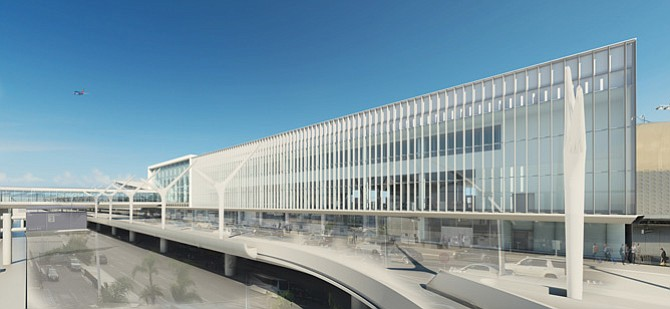 Rendering of new building connecting Terminal 1 and Terminal 2 at LAX.
