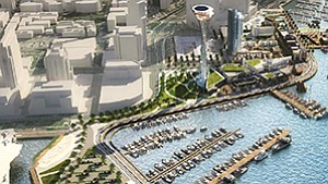 The proposed Seaport San Diego 70-acre redevelopment project has a $1 billion-plus price tag, a complex entitlements process, and a diverse array of stakeholders. Rendering courtesy of AVRP Studios