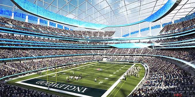 Rendering of the proposed football stadium in Inglewood.