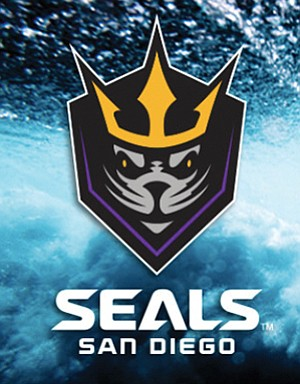 The San Diego Seals' team logo is the stylized face of a seal wearing a gold crown. Its background resembles a shield — and, vaguely, the head of a lacrosse stick. Seals colors are gold, purple, gray and black. Logo courtesy of the San Diego Seals