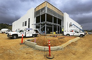 The $30 million Vector at Whiptail Loop and Faraday Avenue in Carlsbad is one of several North County projects by RAF Pacifica Group. The two-story structure is under construction as developers move to fill a growing demand for industrial space.