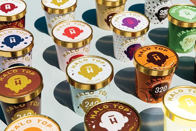 Halo Top ice cream pints.