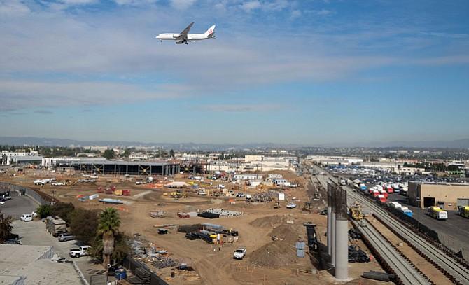 A metro train station under construction near LAX.